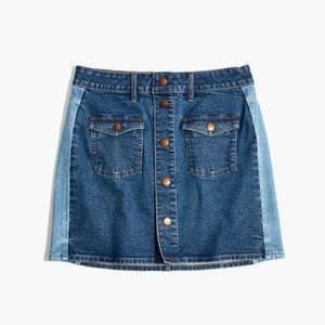 Madewell Straight Denim Mini Skirt: Pieced Edition